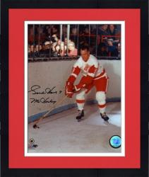 "Framed Gordie Howe Detroit Red Wings Autographed 8"" x 10"" Stick on Puck Photograph with Mr. Hockey Inscription"