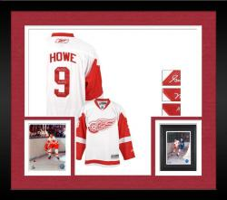 Framed Detroit Red Wings Gordie Howe Autographed Jersey
