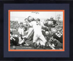Framed Dick Butkus Chicago Bears Autographed 16'' x 20'' Packer Pile Photograph with HOF 79 Inscription