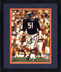 "Framed Dick Butkus Chicago Bears Autographed 8"" x 10"" Black Ink Photograph with HOF 79 Inscription"