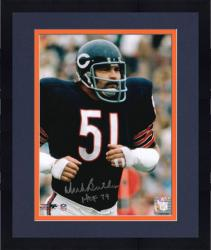 "Framed Dick Butkus Chicago Bears Autographed 8"" x 10"" Blue Jogging Photograph with HOF 79 Inscription"