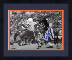 "Framed Dick Butkus Chicago Bears Autographed 8"" x 10"" Chasing Roger Staubach Photograph with HOF 79 Inscription"