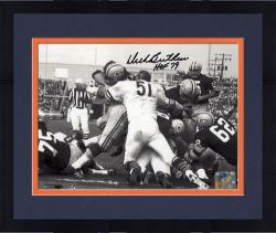 Framed Dick Butkus Chicago Bears Autographed 8'' x 10'' Packer Pile Up Photograph with HOF 79 Inscription