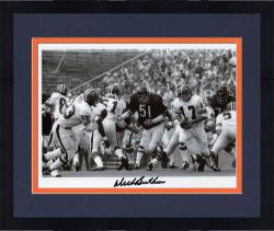 "Framed Dick Butkus Chicago Bears Autographed 8"" x 10"" vs Atlanta Falcons Black and White Photograph"