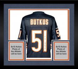 Framed Dick Butkus Chicago Bears Autographed Blue Reebok EQT Jersey with HOF 79 Inscription