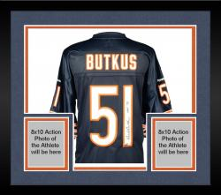 Framed Dick Butkus Chicago Bears Autographed Blue Reebok EQT Jersey with HOF 79 Inscription