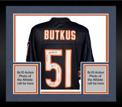 Framed Dick Butkus Chicago Bears Autographed Reebok Blue Jersey with Multiple Inscriptions - #2-50 of a Limited Edition of 51