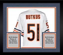 Framed Dick Butkus Chicago Bears Autographed White Reebok EQT Jersey with HOF 79 Inscription