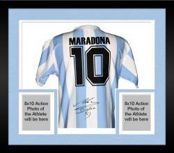 Framed Diego Maradona Argentina Autographed 1986 Blue Back Jersey