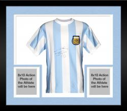 Framed Diego Maradona Argentina Autographed Blue Front Jersey