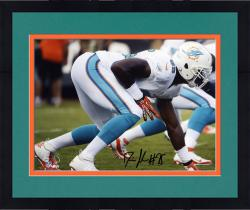 "Framed Dion Jordan Miami Dolphins Autographed 8"" x 10"" Horizontal White Squat Photograph"