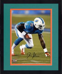"Framed Dion Jordan Miami Dolphins Autographed 8"" x 10"" Vertical Green Squat Photograph"