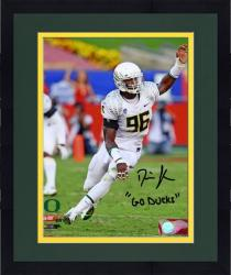 "Framed Dion Jordan Oregon Ducks Autographed 8"" x 10"" Arm Up Photograph with Go Ducks Inscription"