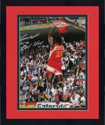 "Framed Dominique Wilkins Atlanta Hawks Autographed 16"" x 20"" Dunk Contest Photograph with ""85, 90 Dunk Champ"" Inscription"