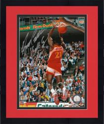 """Framed Dominique Wilkins Atlanta Hawks Autographed 8"""" x 10"""" Dunk Contest Photograph with """"Human Highlight Reel"""" Inscription"""