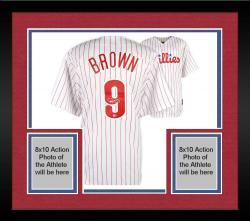 Framed Domonic Brown Philadelphia Phillies Autographed Majestic Replica Home Jersey