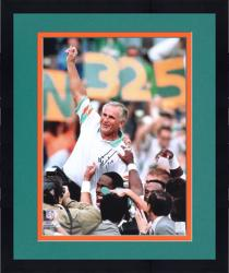 "Framed Don Shula Miami Dolphins Autographed 16"" x 20"" Arm In Air Photograph with 17-0 Inscription"