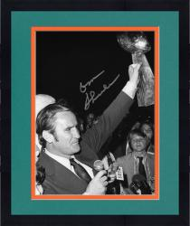 "Framed Don Shula Miami Dolphins Autographed 8"" x 10"" Holding Super Bowl Trophy Photograph"