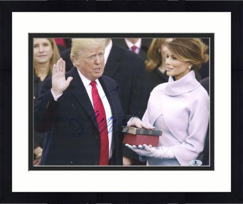 "Framed Donald Trump Autographed 11"" x 14"" 45th Presdient Inauguration Photograph - BAS COA"