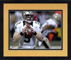 Framed Drew Brees New Orleans Saints Autographed 16'' x 20'' Holding Ball Photograph - Mounted Memories