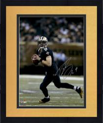 "Framed Drew Brees New Orleans Saints Autographed 16"" x 20"" Scramble Photograph"