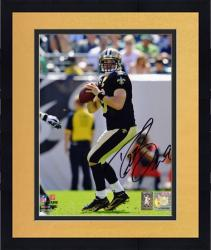 Framed Drew Brees New Orleans Saints Autographed 8'' x 10'' Both Hands on Ball Photograph