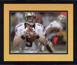 Framed Drew Brees New Orleans Saints Autographed 8'' x 10'' Holding Ball Photograph