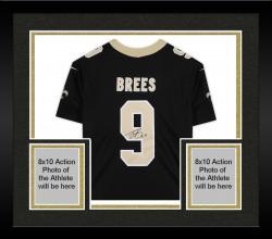 Framed Drew Brees New Orleans Saints Autographed Nike Limited Black Jersey