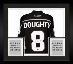Framed Drew Doughty Los Angeles Kings 2014 Stanley Cup Champions Autographed Black Reebok Jersey with 2014 Stanley Cup Patch