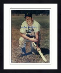 Framed Duke Snider Los Angeles Dodgers Autographed 16'' x 20'' Kneeling on Bat Photograph