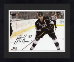Framed Dustin Brown Los Angeles Kings 2014 Stanley Cup Champions Autographed 8'' x 10'' Horizontal Action Black Jersey Photograph