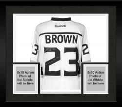 Framed Dustin Brown Los Angeles Kings 2014 Stanley Cup Champions Autographed Reebok White Jersey with SC Champs 2012/2014 Inscription