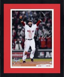 """Framed Dustin Pedroia Boston Red Sox 2013 World Series Champions Autographed 16"""" x 20"""" Arms Up Photograph"""