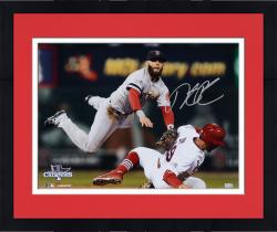 "Framed Dustin Pedroia Boston Red Sox 2013 World Series Champions Autographed 16"" x 20"" Double Play Photograph"
