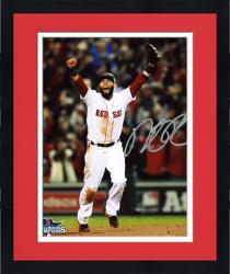 """Framed Dustin Pedroia Boston Red Sox 2013 World Series Champions Autographed 8"""" x 10"""" Arms Up Photograph"""
