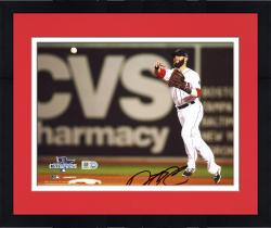 "Framed Dustin Pedroia Boston Red Sox 2013 World Series Champions Autographed 8"" x 10"" Throwing Photograph"