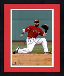 "Framed Dustin Pedroia Boston Red Sox Autographed 16"" x 20"" One Knee Photograph"