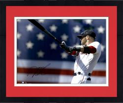 """Framed Dustin Pedroia Boston Red Sox Autographed 16"""" x 20"""" Warm Up Photograph"""