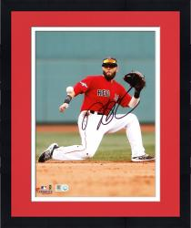 "Framed Dustin Pedroia Boston Red Sox Autographed 8"" x 10"" One Knee Photograph"