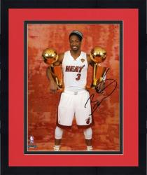 "Framed Dwyane Wade Miami Heat 2012 Finals Champs Autographed 8"" x 10"" 2 Trophies Photograph"