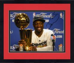 "Framed Dwyane Wade Miami Heat 2012 Finals Champs Autographed 8"" x 10"" Trophy Press Conference Photograph"