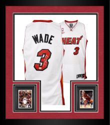 Framed Dwyane Wade Miami Heat Autographed White Swingman Jersey
