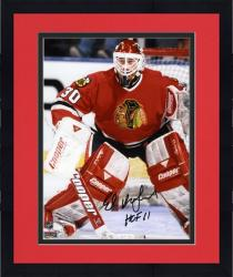"Framed Ed Belfour Chicago Blackhawks Autographed 8"" x 10"" Blocking Goal Photograph with HOF 11 Inscription"