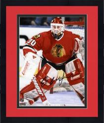 "Framed Ed Belfour Chicago Blackhawks Autographed 8"" x 10"" Blocking Goal Photograph"