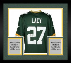 Framed Eddie Lacy Green Bay Packers Autographed Green Game Jersey