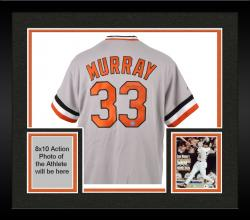 Framed Eddie Murray Autographed Jersey - Gray Throwback Mounted Memories