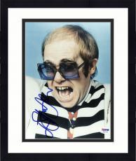 "Framed Elton John Autographed 8""x 10"" Black & White Striped Shirt Photograph -  PSA/DNA COA"