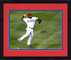 "Framed Elvis Andrus Texas Rangers Autographed 16"" x 20"" Jump Throw In Air Photograph"