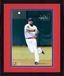 "Framed Elvis Andrus Texas Rangers Autographed 16"" x 20"" Throw Ball Photograph"