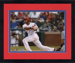 "Framed Elvis Andrus Texas Rangers Autographed 8"" x 10"" Catcher Watch Photograph"